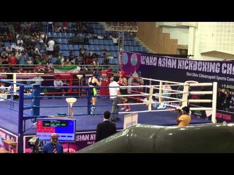 WAKO ASIAN KICKBOXING 踢拳 Champion 2015 INDIA WAKO MACAU Low Kick 低踢 女子南韓哈薩克2