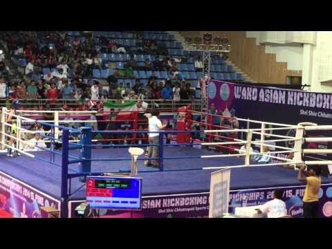 WAKO ASIAN KICKBOXING 踢拳 Champion 2015 INDIA WAKO MACAU Low Kick 低踢 女子南韓哈薩克3